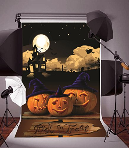 Laeacco Vinyl Thin Backdrop 5x7FT Photography Background Pumpkin Hat Grimace Moon and Haunted House Kids Child Trick or Treat Halloween Background 1.5(W)x2.2(H)m Backdrop Video Photo Studio Props -