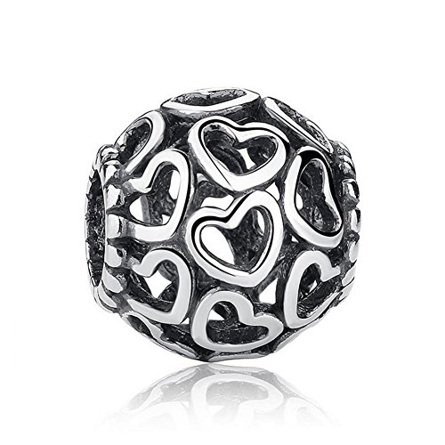 Romántico Amor Fit Pandora Bracelet Hollow Heart Love Charm Open your Heart Silver Bead