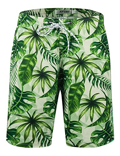 APTRO Men's Quick Dry Swim Trunks with Pockets Long Elastic Waistband Beach Board Shorts Bathing Suits (L, No mesh Lining-Green)
