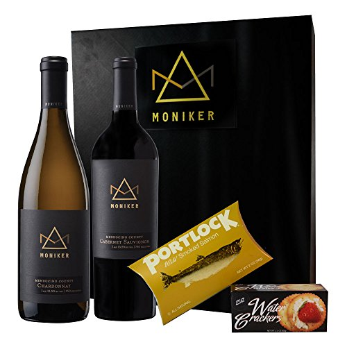 "Moniker Wine Estates Pinot Noir and Chardonnay Wine and Salmon ""Gift Set"", 2 X 750 ML"