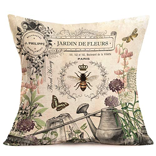 Royalours Throw Pillow Covers Butterfly & Honeybee Decorative Pillow Covers Cotton Linen Vintage Flower Garden Farmhouse Pillowcase Cushion Covers Square 18