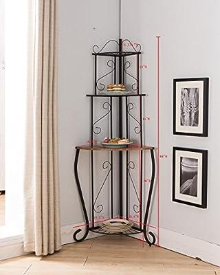 Kings Brand Furniture Black/Walnut Kitchen Storage Corner Bakers Rack