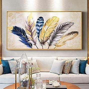 Xcsmwja Plume Dorée Moderne Tableaux Muraux Abstrait Toile Peinture Maison Salon Chambre Décoration Peinture Murale Fonctionne 60 120cm Amazon Fr Bienvenue