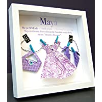 Personalized Name Origin and Meaning Baby Gift Paper Origami Shadowbox Frame with Fashion Clothing Dress Purse High Heels Custom Newborn Baby Shower Gift