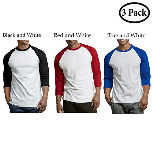 Unibasic Men Activewear Classic Two Tone Raglan Cut 3/4 Sleeve Baseball Tee - 3 Pack Edition (Red, Black, Blue, XXLarge) (Sleeve Set T-shirt)