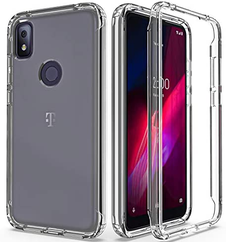 AMENQ Case for T-Mobile Revvl 4, TCL Revvl 4 Case, [6.2 inches] Slim Fit Drop Proof and Scratch-Resistant Hard Clear Protective with TPU Bumper and Rugged PC Phone Cover(Clear-Revvl 4 [ 6.2 inches])