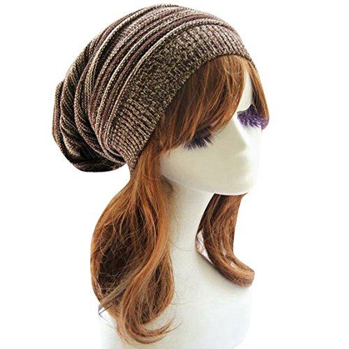 - Aivtalk Unisex Winter Warm Knit Hat Crochet Baggy Ski Hat Beanie Cap Beret Brown