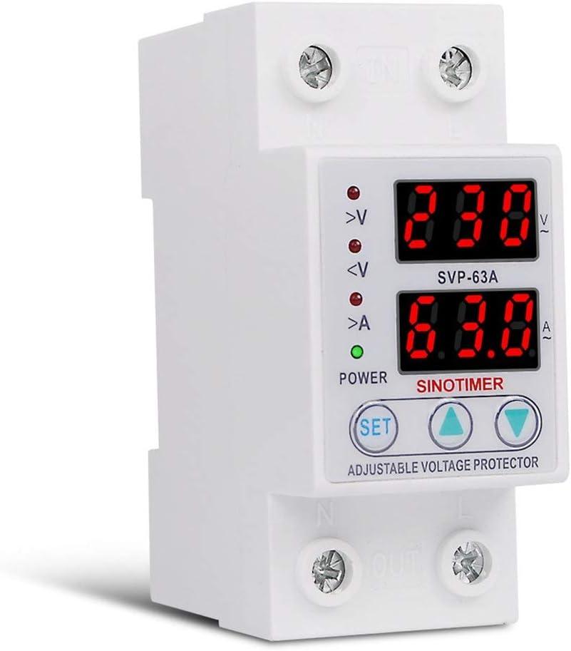 Hehilark SINOTIMER SVP-63A 230V 63A Dispositif de Protection avec disjoncteur de Protection /à r/écup/ération Automatique sous//surtension r/églable