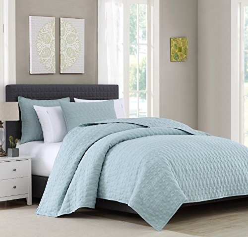 Reversible Quilt Coverlet Set Queen - Microfiber Lightweight Bedspread Oversized 3-Piece Quilt Set, Blue, By BOURINA (Set Quilt Blue)