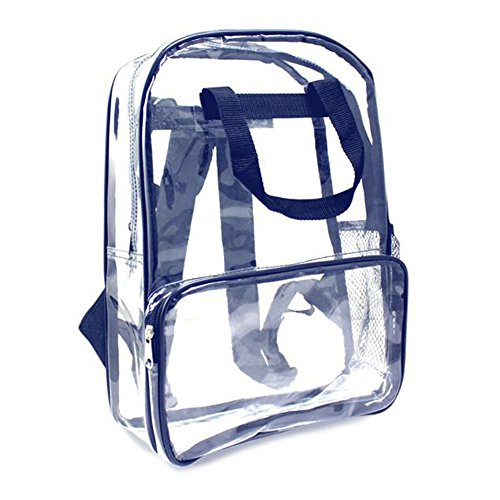 "ProEquip Travel Bag Clear Unisex Transparent School Security Backpack (16"" - Navy & Clear)"