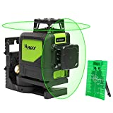 Huepar Self-Leveling 360 Laser Level - Mute Levelsure 902CG Green Beam 150 Ft Vertical Horizontal Line with Magnetic Pivoting Base, 2 Full-time Pulse