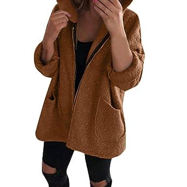 Cinnamou_mujer Chaqueta de Felpa con Botones de Solapa Cuello de Mujer Abrigos Blusa de Invierno Prendas de Abrigo: Amazon.es: Ropa y accesorios