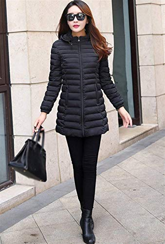 Eleganti Donna Leggero Caldo Piumino Plus Fashion Slim Puro Manica Semplice Outerwear Cappotti Incappucciato Prodotto Piumini Lunga Fit Invernali Schwarz Giaccone Colore Glamorous 766xd