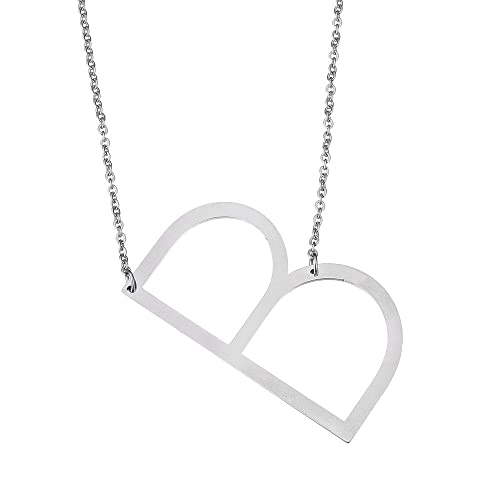 stainless steel initial letter b necklace large alphabet pendant family friends jewelry gift