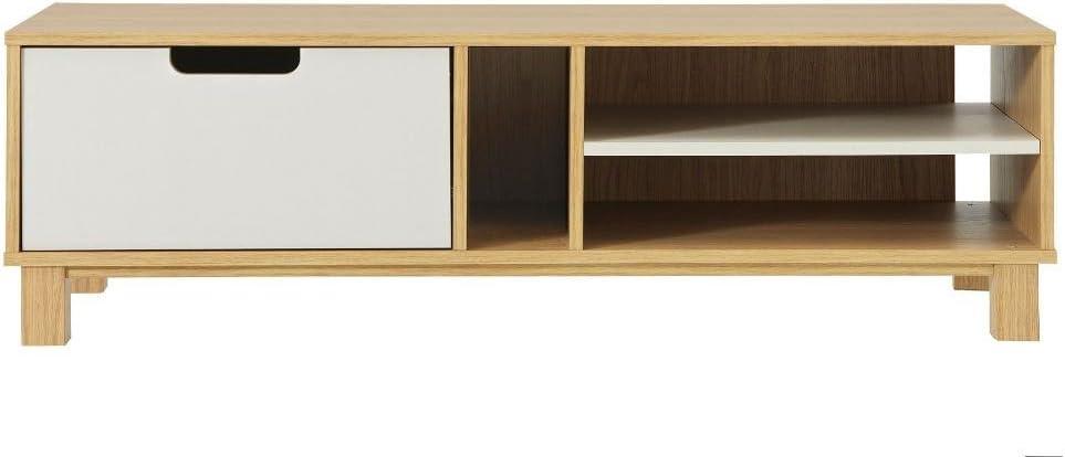 Mueble de TV Retro mueble para televisor de pantalla plana blanco y efecto madera de roble con gamuza de microfibra: Amazon.es: Hogar