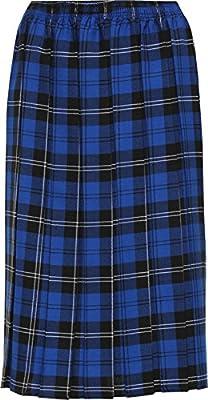 WearAll Women's Plus Checked Tartan Print Elasticated Pleated Midi Skirt