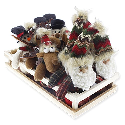 Set of 12 Christmas Ornaments – Holiday Figurine Set with Display Tray, Decorative Tabletop Embellishment in Winter Holliday Design, Reindeer, Snowman, Santa, 3.5 x 5.5 x 2.5 Inches - Santa Snowman Ornament