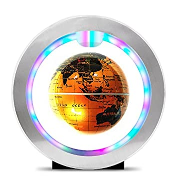 Amazon floating globe with led lights knaclean magnetic floating globe with led lights knaclean magnetic levitating globe field world map globe for geography gumiabroncs Image collections