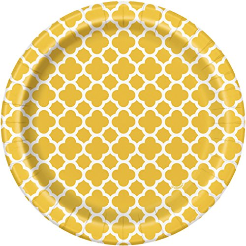 Yellow Quatrefoil Paper Cake Plates, (Unique Group Costume Ideas For Work)