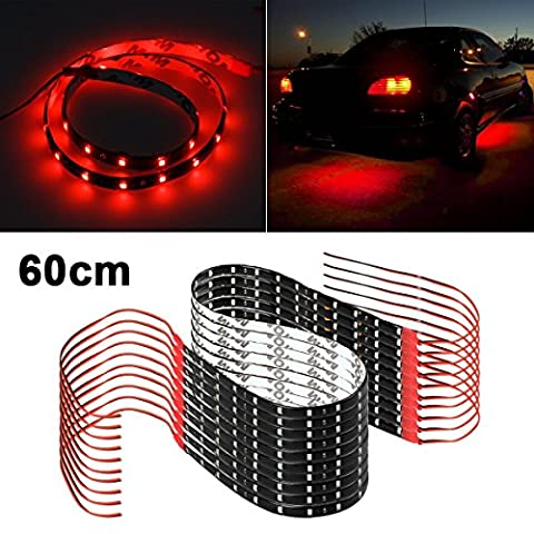 Partsam LED Bulb Red Strips 60CM Light Interior Exterior Bright SMD 5050 for Car Truck Motorcycle 10PCS