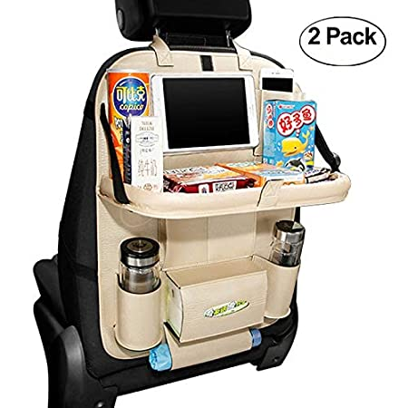 HCMAX 2 Pack Lusso Seggiolino per Auto Organizzatore Tasca pieghevole Tavolo da Pranzo Titolare Vassoio Multifunzione Protettore Borsa di Stoccaggio Kick Mat Accessorio da Viaggio