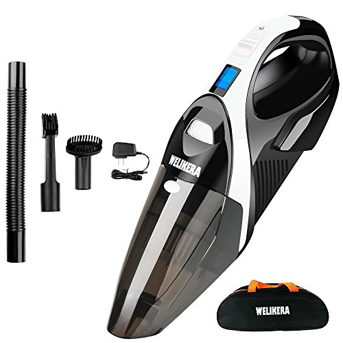 WELIKERA Cordless Vacuum, 12V 100W Hand-held Cordless Vacuum Cleaner, Powerful Portable Pet Hair Vacuum, Cordless Rechargeable Vacuum for Home and Car Cleaning, with A Carrying Bag, - Held Powerful Hand Vacuum