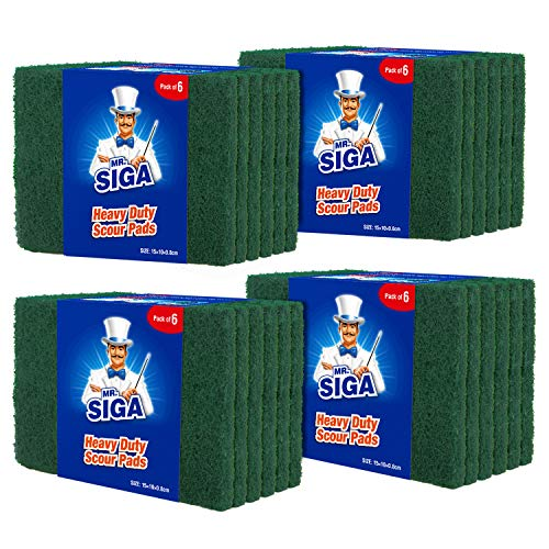 - MR.SIGA Heavy Duty Scouring Pads, Household Scrubber for Kitchen, Sink, Dish, 24-Pack, 3.9 x 5.9 inch (10 x 15 cm), Green
