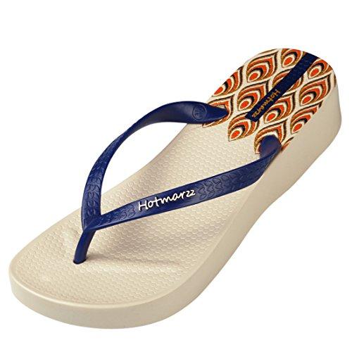 Hotmarzz Women's Floral Pattern Wedge Flip Flops Platform Sandals High Heel Slippers Size 5 B(M) US / 36 EU, Floral Apricot