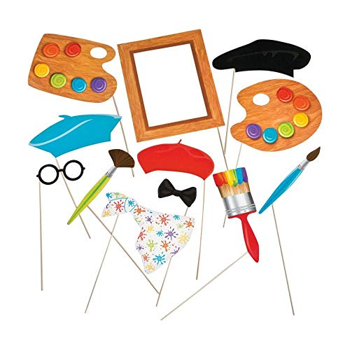 Fun Express Little Artist Party Photo Stick Props - 12 pc ()