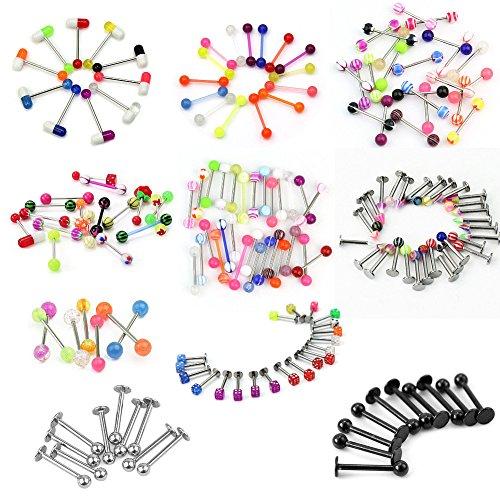 Pinzhi - 100x Multicolore Barres Clous Piercing de Langue Acier Chirurgical 316L