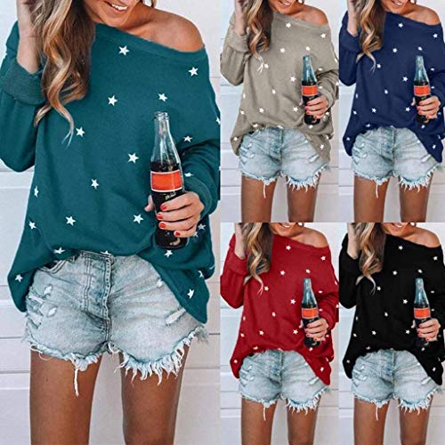 PASATO Women Long Sleeve Tee One shoulder Cotton Star Pattern Sweat T-Shirt Casual Blouses Tops (Gray,XXXXXL=US:XXXXL) by PASATO Blouse For Women (Image #7)