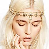 Hypnotique Antique Rhinestone and Imitation Pearl Gold-tone Fashion Head Chain Jewelry Hair Accessories for Women (Head Chain)