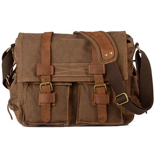 Sanwood Men's Canvas School Shoulder Bag (Coffee)