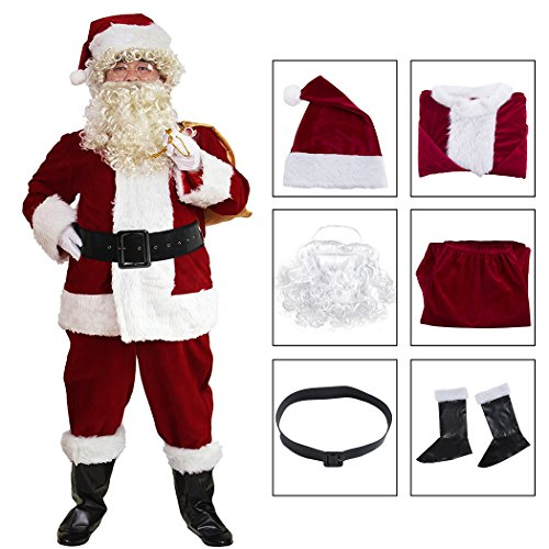 Mens Santa Claus Costume Father Christmas Suit for Men Festive Outfit