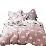 BuLuTu Cloud Print Kids Duvet Cover Twin Pink White Cotton for Girls,Summer Super Soft Premium 2018 New Modern Reversible Pink Teen Bedding Sets Twin Comforter Cover with Zipper Closure,No Comforter
