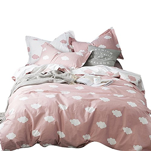 BuLuTu Cloud Print Kids Duvet Cover Twin Pink White Cotton for Girls,Summer Super Soft Premium 2018 New Modern Reversible Pink Teen Bedding Sets Twin Comforter Cover with Zipper Closure,No Comforter