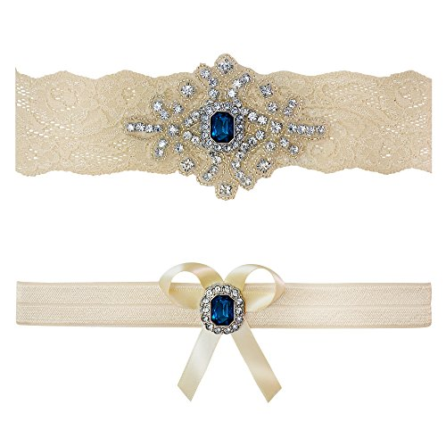Ivory Sapphire Blue Wedding Bridal Garter Set Keepsake Toss (Large (20