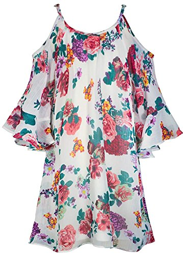 Truly Me, Big Girls' Floral Printed Flowy A-Line Dress with Cold Shoulder Detail, Size 7-16 (Ivory Multi, 10)
