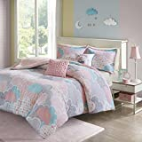 5 Piece Girls Pastel Color Cloud Themed Comforter Full Queen Set, Baby Blue Aqua Light Pink White Grey Sky Clouds Bedding, Playful Fun Polka Dot Heart Love Swirl Dots Pattern, Cotton