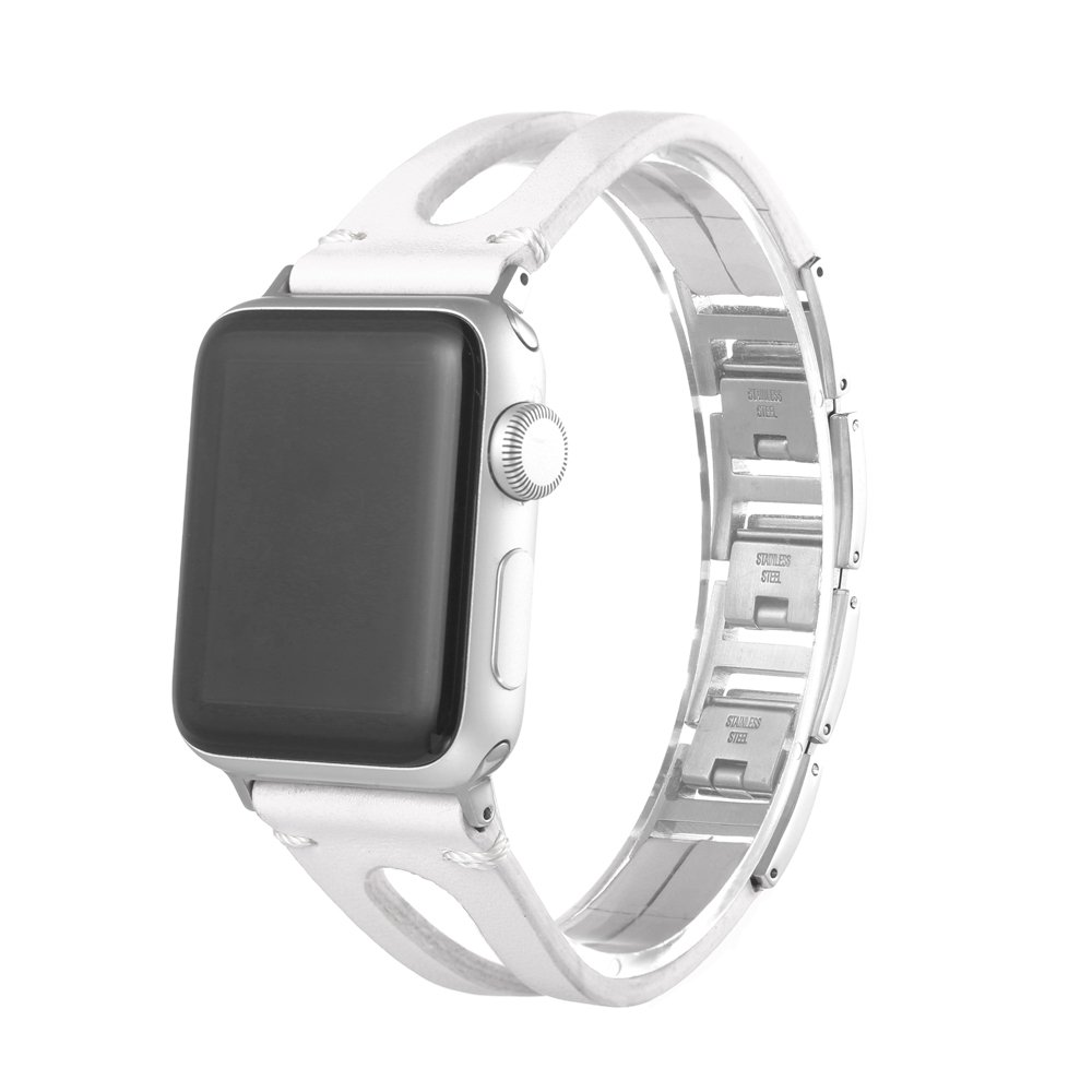 Fashion Women Vintage Leather Bracelet Band Strap for Apple Watch 1/2/3 42mm (White)