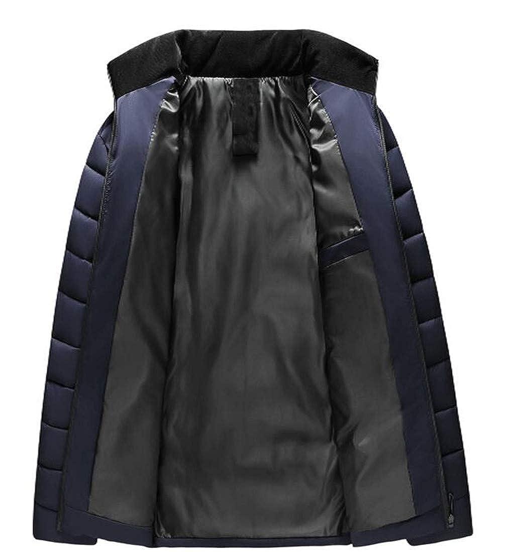 Macondoo Mens Zip Front Down Jacket Outerwear Puffer Winter Parkas Coats