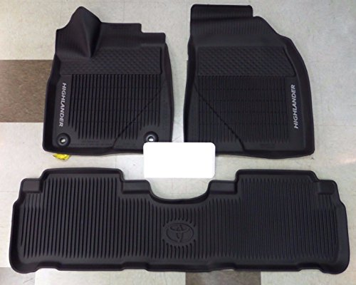 (Genuine Toyota All-Weather Floor Liner Set PT908-48165-02. Black 3 Piece Set. 2016-2017 Highlander & Highlander Hybrid.)