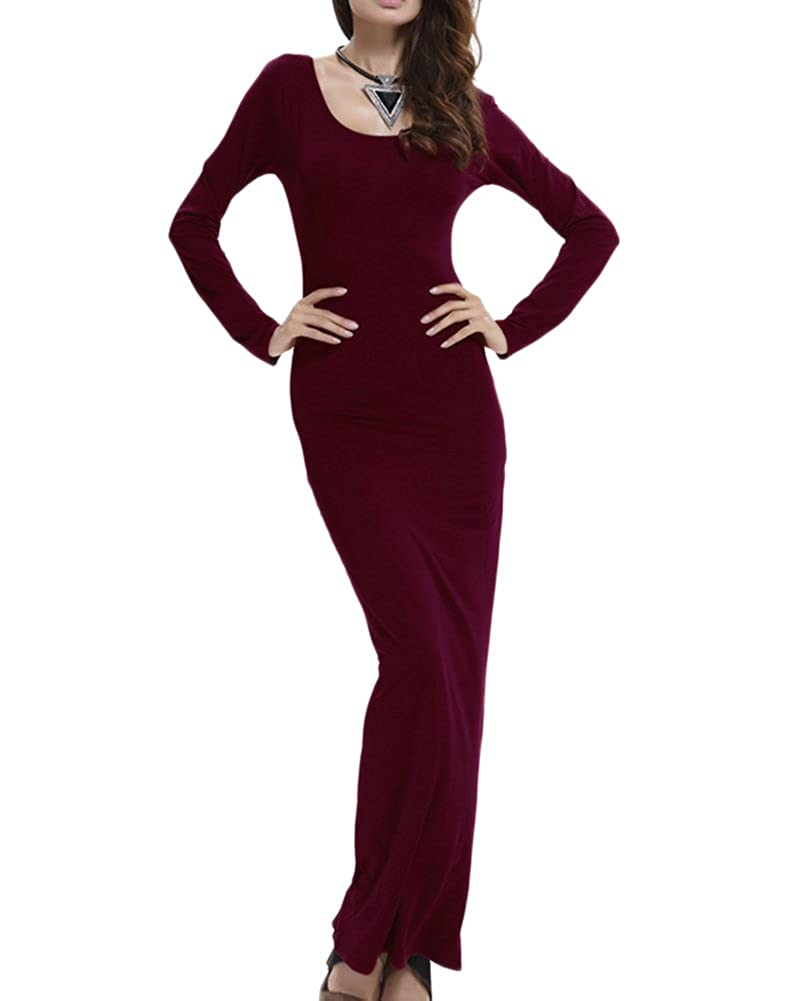 Damen Langarm Etuikleider Basic Longshirt Kleider Loose Stretch Rundhals T-Shirt Einfarbig Maxi Kleid