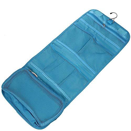 (MOPOLIS Multi-function Portable Women Travel Toiletry Hanging Makeup Folding Organizer | Color - Blue)