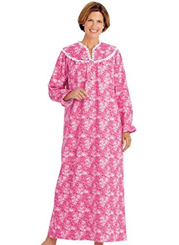 AmeriMark Women's Flannel Gown with Lace 3X (24W-26W) / Pink (100 Cotton Flannel Nightgown)