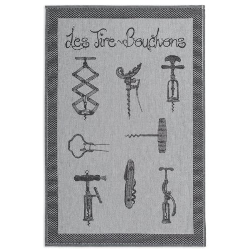 COUCKE French Jacquard Cotton Kitchen Dish Towel French Table Collection, Les Tire Bouchons (Corkscrews) PJ, 20-Inches by 30-Inches, Black