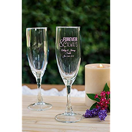 144 Pack Forever And Always 5 75 Oz Champagne Glass Bride To Be Gifts For Her Wedding Anniversary Personalized Pink Printed Wedding Favor