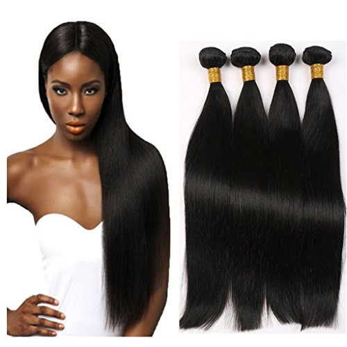 Straight Brazilian Hair 4 Bundles 100% Unprocessed Silky Straight Human Hair Extensions 400 gram Natural Black 24 26 28 30inch Virgin Hair by Colorful Bird