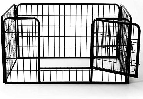 HOMCOM Luxe Parc enclos Acier 125L x 80l x 70H cm 4 Panneaux et 1 Porte pour Chiens Noir