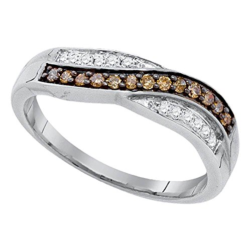- Sonia Jewels Size 7.5-10k White Gold Round Chocolate Brown Diamond Band Ring (1/4 Cttw)